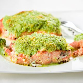 PESTO BAKED SALMON ( WITH BROCCOLI PESTO)