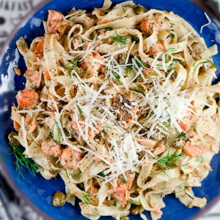 DELICIOUS SALMON PASTA  WITH CAPERS