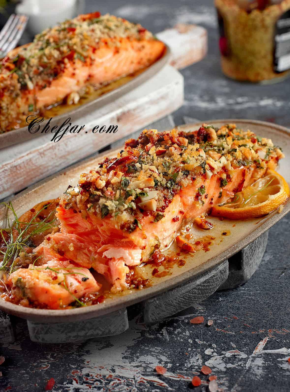 baked-salmon-with-honey-mustard-and-pecan-panko-crust