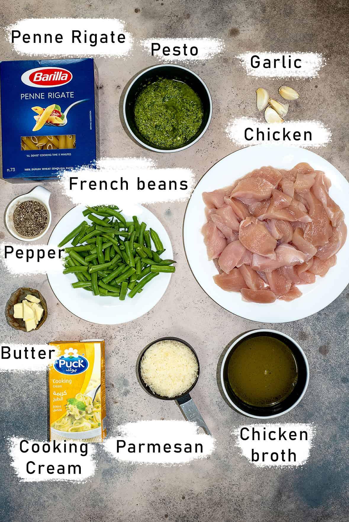 creamy chicken pesto pasta ingredients